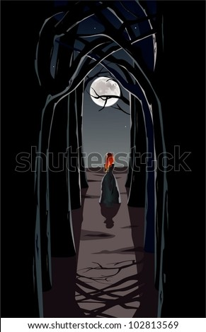 girl in moonlight the vector