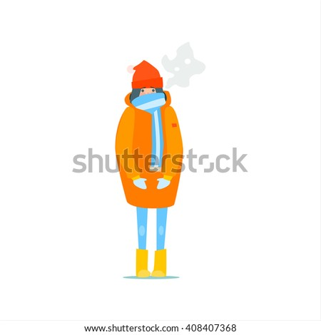 girl in orange winter coat