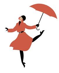 Girl in raincoat and umbrella jumping and dancing