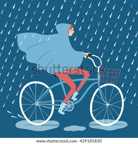girl in raincoat riding on a