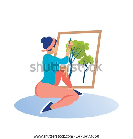 Girl in Red Pants and Headband Draws Picture. Coworking Center. Vector Illustration. Time Rest. Draw Trees on Canvas. Woman with Pencil in Hand on White Background. Pencil Drawing Technique.