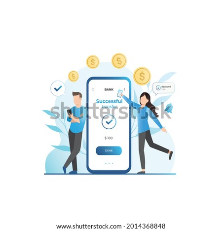 Girl in smartphone transferred, sent money, coins, cash to electronic account on Internet to man. Banking services on web site. Successful transaction. Refill. Guy made profit in finance, budget. Сток-фото ©