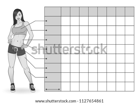 Girl in sportswear. Black-white version. Table of measurements of body parameters for tracking sports and dietary effects. Table: week, chest, arm, waist, waist to hips, hips, thigh, calf, weight.