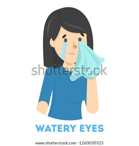 Girl in tears. Symptom of flu or cold. Female character with watery eyes. Sad girl. Flat vector illustration