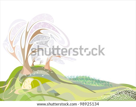 girl in the form of land in the spring, meadow of tulips, lilies, apple orchard in bloom