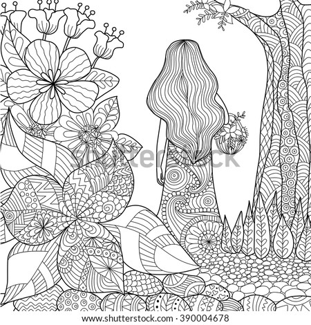 Girl In The Garden Whimsical Line Art For Coloring Book