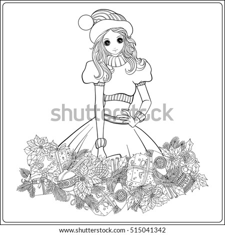 girl in the hat of santa claus costume and santas helper with a christmas wreath of