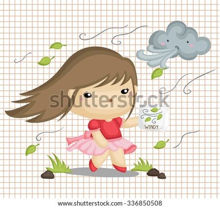 Girl in Windy Weather