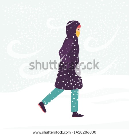 girl in winter coat walking