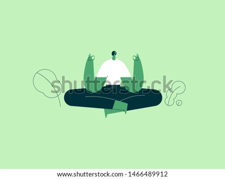 Girl in yoga lotus practices meditation. Vector illustration flat design. Use in Web Project and Applications.