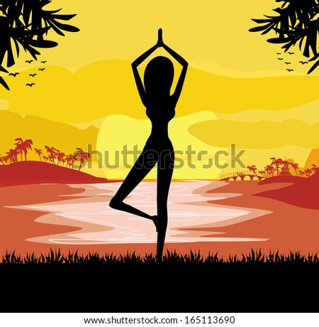 girl in yoga pose on summer