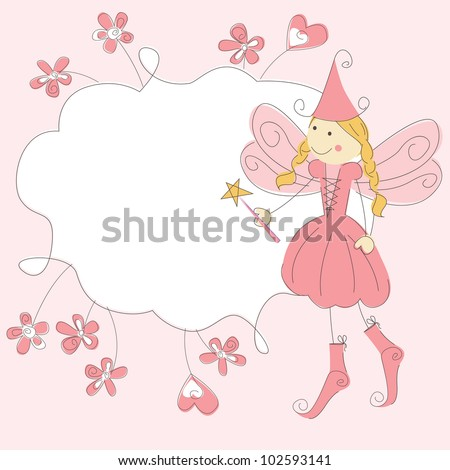 girl invitation card with fairy
