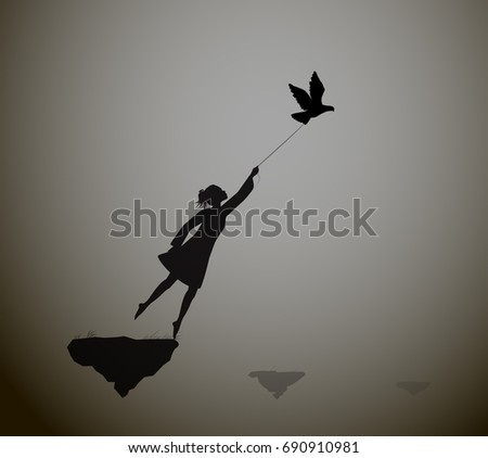 girl is flying and holding pigeons, fly in the dream, shadows, life on flying rock, black and white, vector
