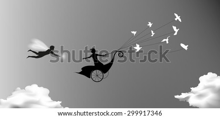 girl is flying on fairy