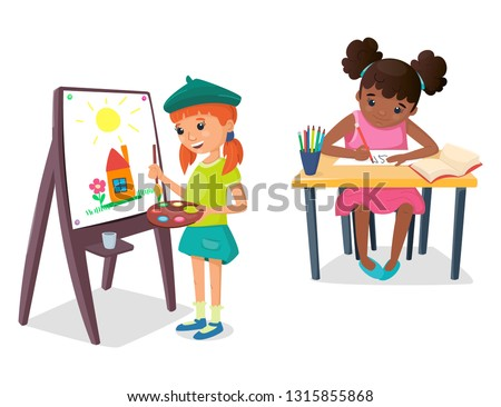 girl is painting a drawing on