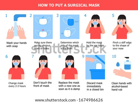 Girl is putting on mask to prevent virus. Illustration of steps, how to wear surgical mask. Instruction vector of washing of hands. Prevention of corona-virus. Stockfoto ©