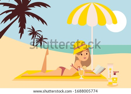 girl is resting on beach under