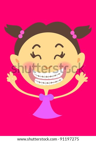 girl is showing her orthodontic teeth