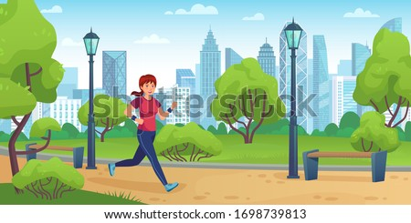 Girl jogging in city park. Active woman run on training, outdoor sport activities and healthy lifestyle cartoon vector illustration. Girl jogging and fitness exercise, woman activity workout