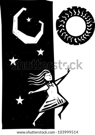 Girl jumping between nighttime and daytime.