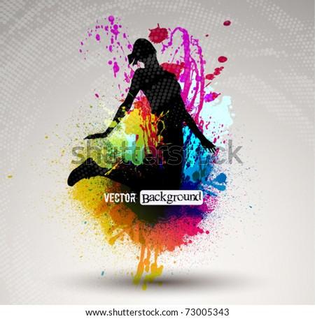 girl jumping over ink splash