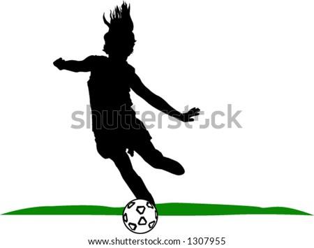 girl kicking soccerball