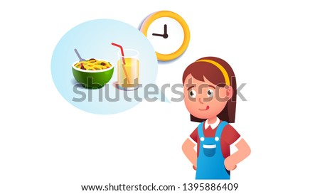 Girl kid dreaming to eat breakfast concept. Imagining noodles food and glass of juice. Hungry child waiting for a morning first meal with tong out licking lips. Flat vector character illustration