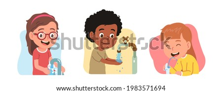 Girl kid pour water into glass from faucet, drinking from drink fountain, boy person wash hands using outdoor tap. Children characters quench thirst. Hydration, hygiene flat vector illustration set Foto stock ©