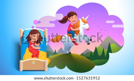 Girl kid sleeping in bed & dreaming about riding unicorn on meadow. Dream cloud with happy kid sitting on unicorn. Child lying in bed having good dream. Childhood fantasy. Flat vector illustration