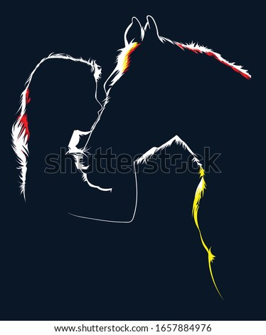 girl kiss horse silhouette of