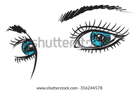 girl lady woman blue eyes illustration