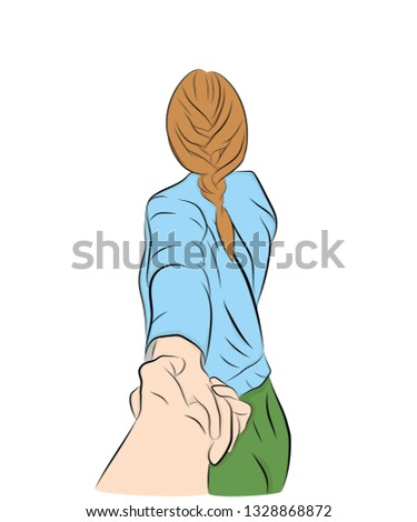 girl leads the guy's hand take