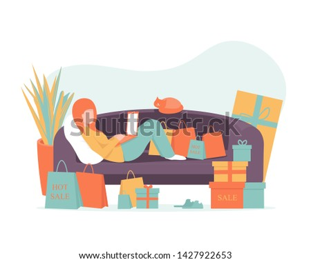 Girl lies on the sofa at home and buys products through a laptop online. Shopping concept flat illustration for web design, banner, mobile app, landing page. Flat vector illustration.