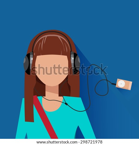girl listen music mp3 player