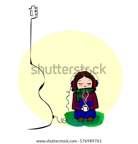 girl listening to music on a