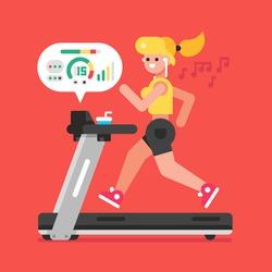 Girl listening to music while running on treadmill. Vector flat illustration.