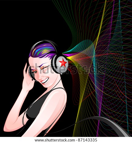 Girl listening to music with her headphones - stock vector