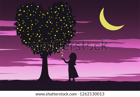girl look to firefly on heart
