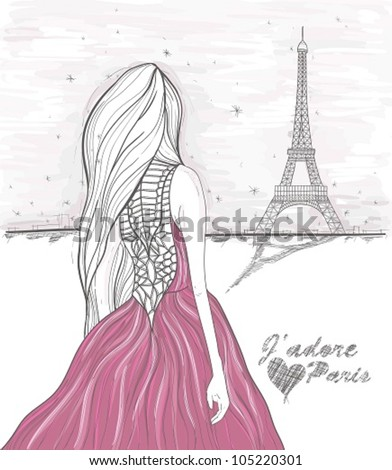Girl looks at eiffel tower hand drawn paris postcard stock vector