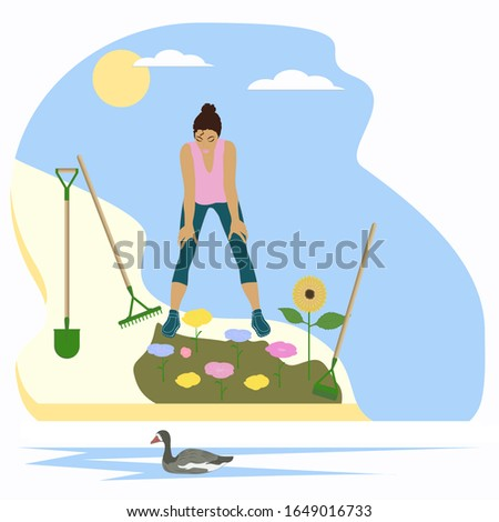 Girl looks at the planted flowers - isolated on white background - vector. Gardening Tools. Planting plants.