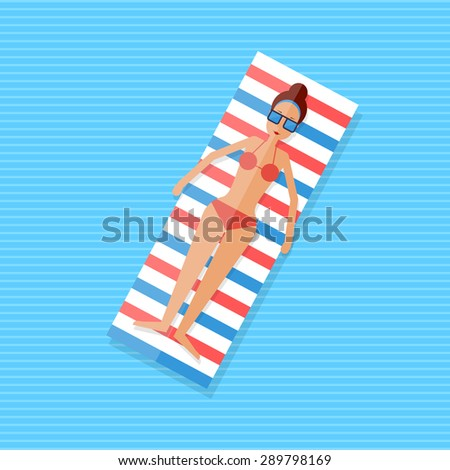 girl lying on an inflatable