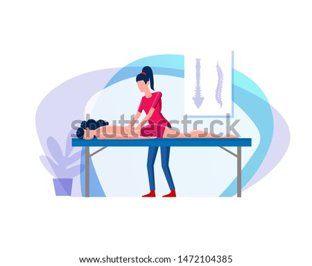 Girl makes a woman a back massage. Young woman makes massage to young girl at her back. Alignment of the ridge of the back by means of therapeutic massage. Flat cartoon illustration chiropractor spine