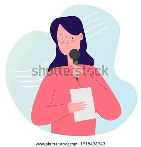 girl master ceremonial hold mic and paper with cartoon flat style vector design illustration Stock photo ©