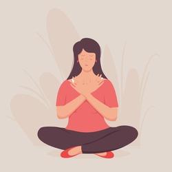 Girl meditates, Smiled girl character enjoys her freedom and life