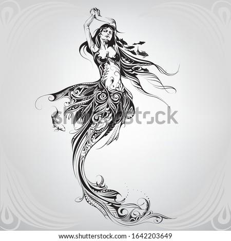 girl mermaid in a floral