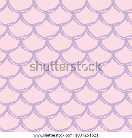 Stock Photo Girl mermaid seamless pattern. Pink fish skin backdrop. Tillable background for girl fabric, textile design, wrapping paper, swimwear or wallpaper. Girl mermaid texture with fish scale underwater.