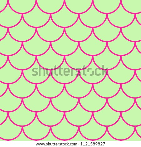 Stock Photo Girl mermaid seamless pattern. Purple fish skin backdrop. Tillable background for girl fabric, textile design, wrapping paper, swimwear or wallpaper. Girl mermaid texture with fish scale underwater.