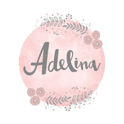 Girl name Adelina. Calligraphy lettering. Cute Floral pattern. Watercolor background