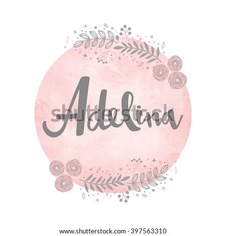 girl name adelina calligraphy