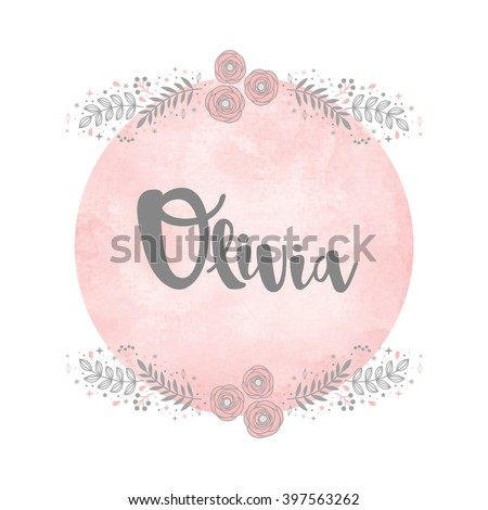girl name olivia calligraphy